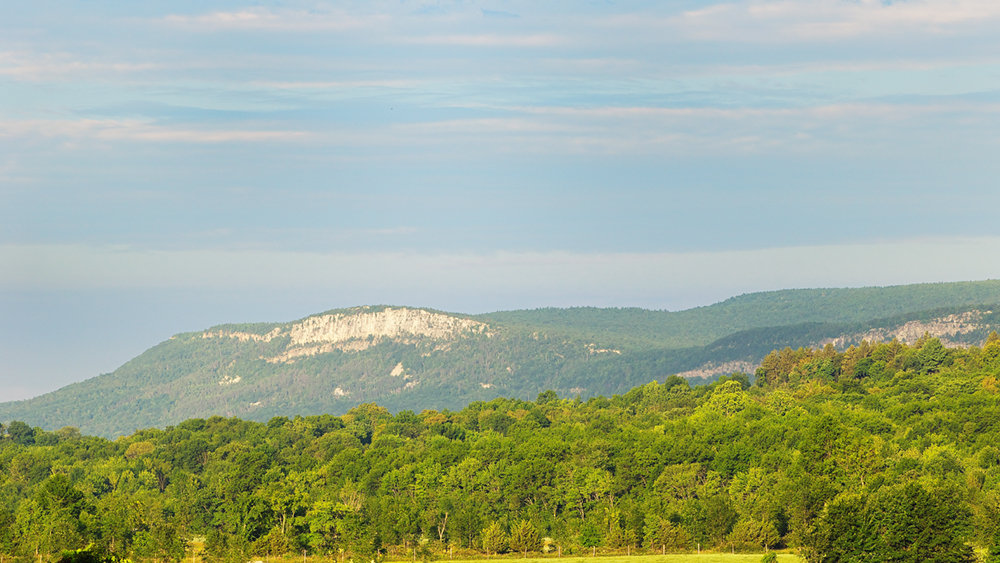 A view of the cliffs of Millbrook Mountain, taken from a distance