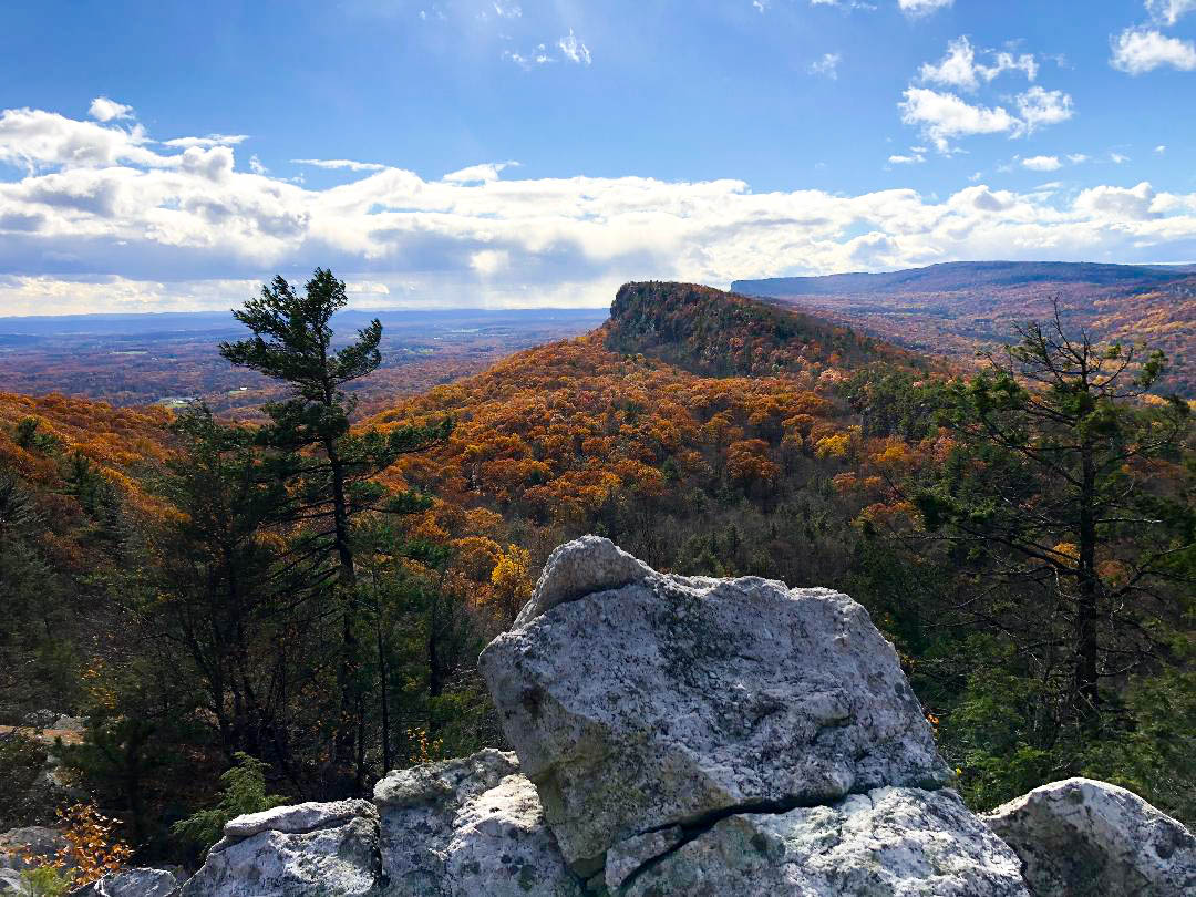 View of the Shawangunk Cliffs showing the ridge top from the Trapps through Millbrook Mountain
