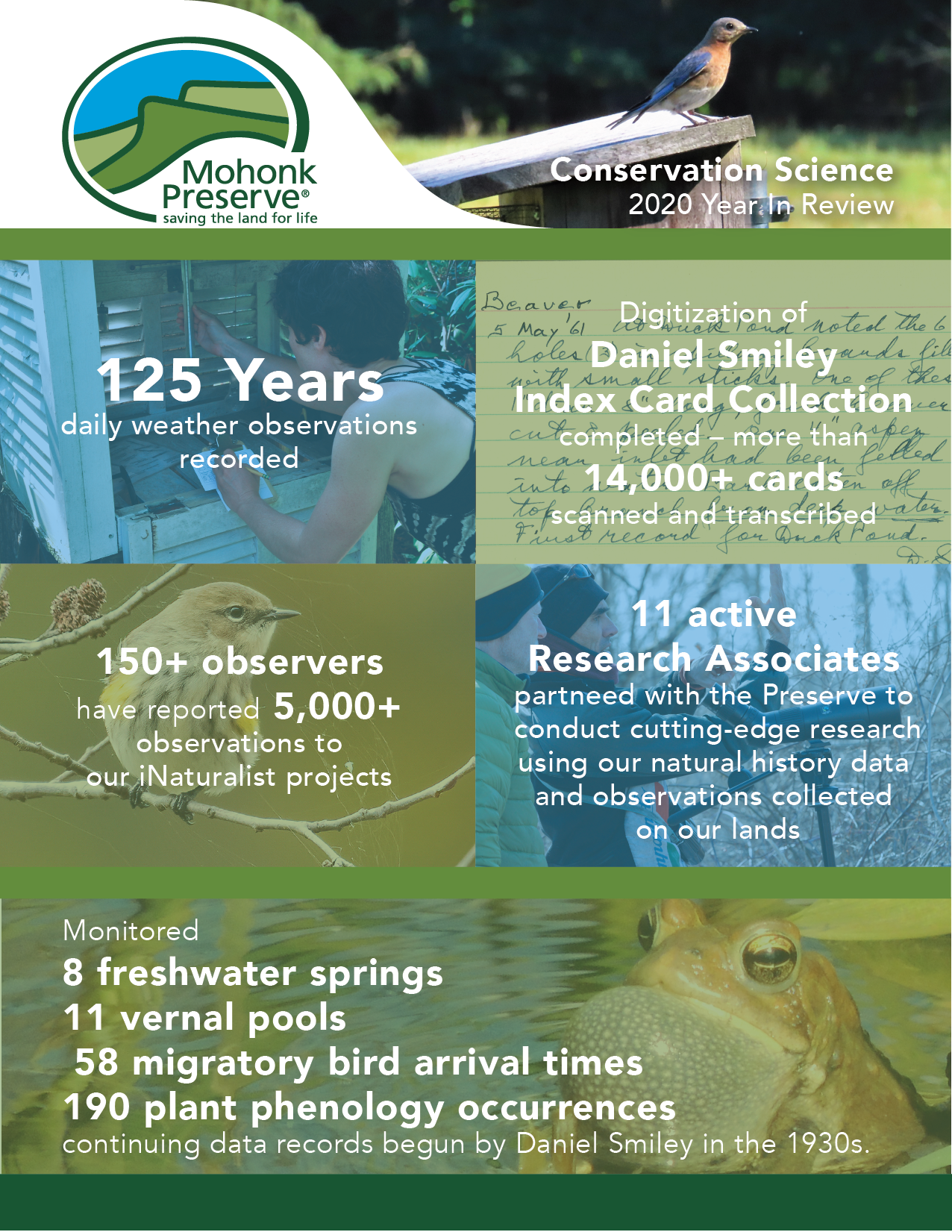 Conservation Science 2020 Year In Review: 125 Years daily weather observations, Digitization of Daniel Smiley Index Card Collection completed - more than 14,000+ cards scanned and transcribed; 150+ observers have reported 5,000+ observations to our iNaturalist projects; 11 active research associates partnered with the Preserve to conduct cutting-edge research using out natural history data and observations collected on our lands; Monitored 8 freshwater springs; 11 vernal pools; 58 migratory bird arrival times; 190 plant phenology occurrences continuing data records begun by Daniel Smiley in the 1930s.