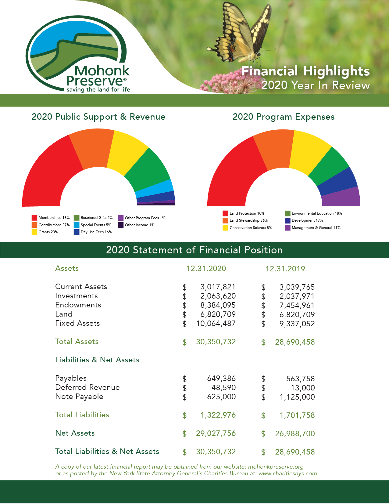 Financial Highlights 2020 Year In Review: 2020 Public Support & Revenue; 2020 Program Expenses; 2020 Statement of Financial Position